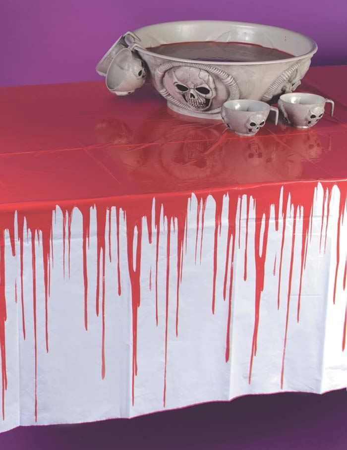 Drips of Blood White Bloody Table Cloth Halloween Stained Party Table Decoration