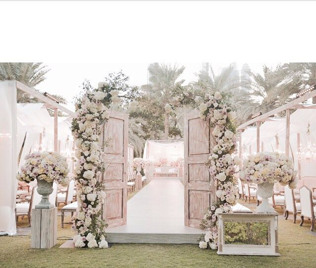 Outdoor Wedding Ceremony Doors: Custom Ceremony Doors With White And Blush Floral By White
