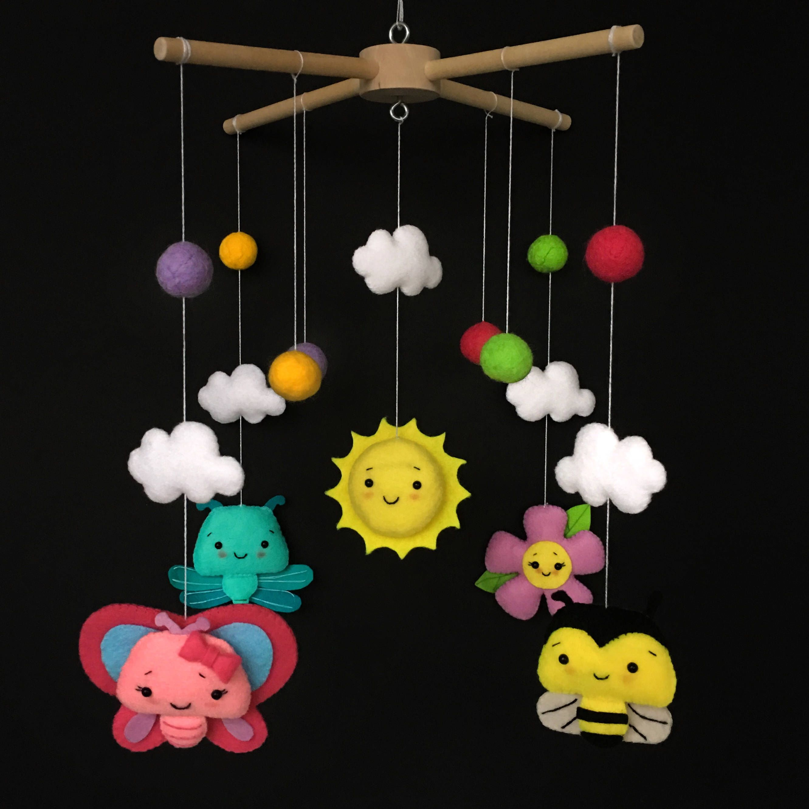 butterfly mobile baby nursery idea nursery mobile girl baby mobiles hanging felt mobile. Black Bedroom Furniture Sets. Home Design Ideas