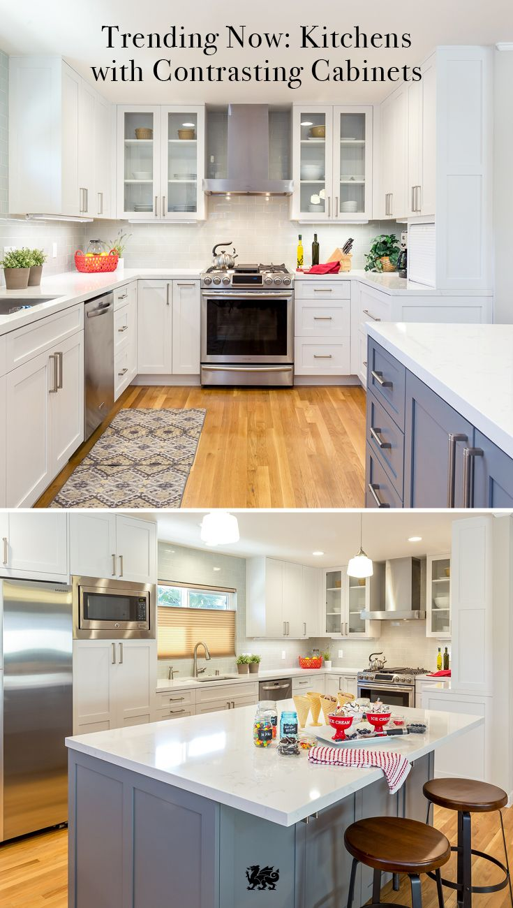 Matching Cabinets Are A Thing Of The Past Embrace A More Engaging Color Palette By Incorporating Contrasting Cabi Kitchen Design Home Kitchens Kitchen Remodel Kitchen color schemes 2016
