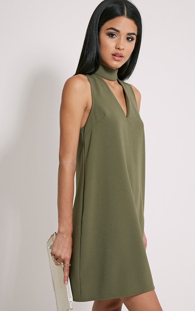 4e97b8cfdf06 Cinder Khaki Choker Detail Loose Fit Dress Image 4