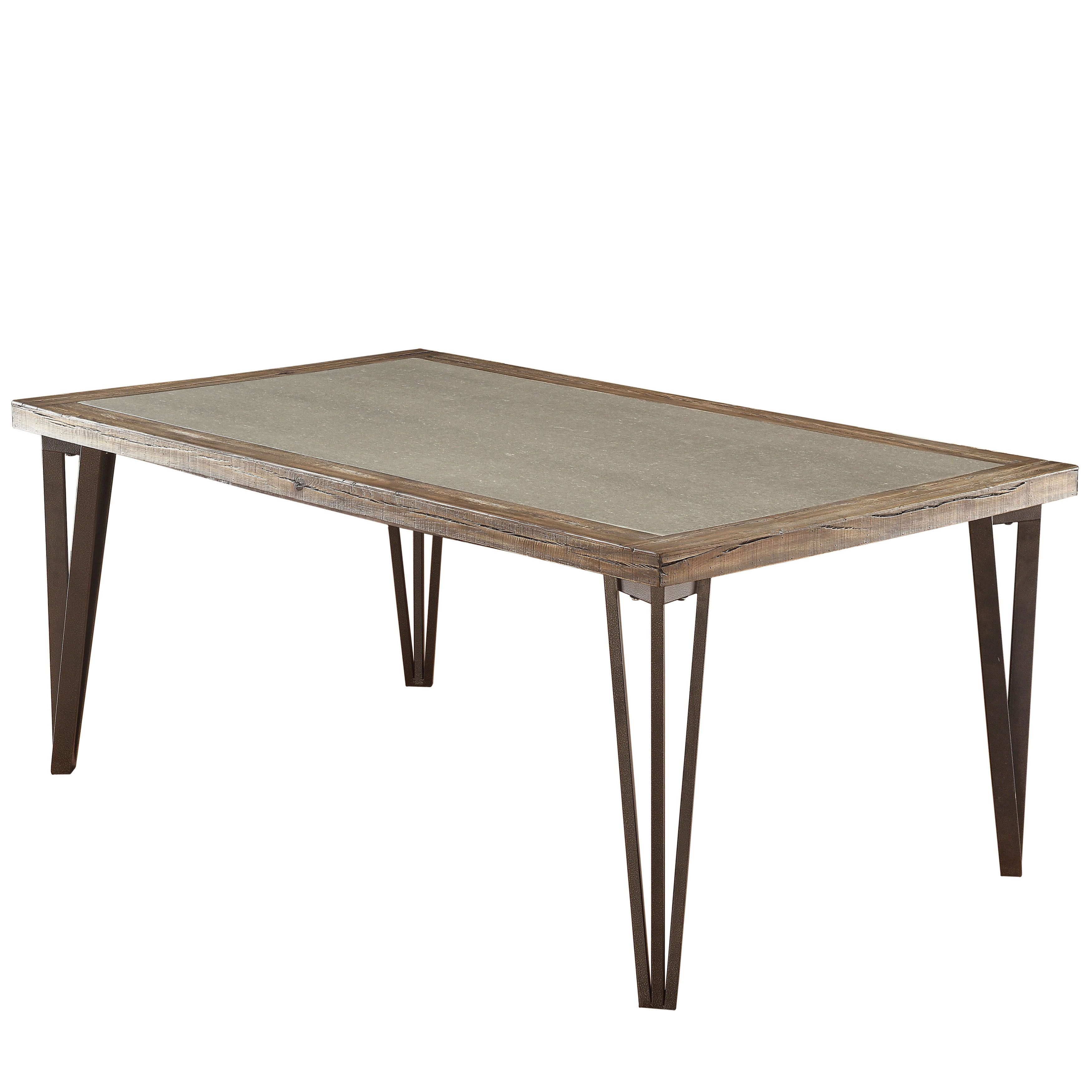 Furniture Of America Hailey Rustic Weathered Elm Stone Top Dining