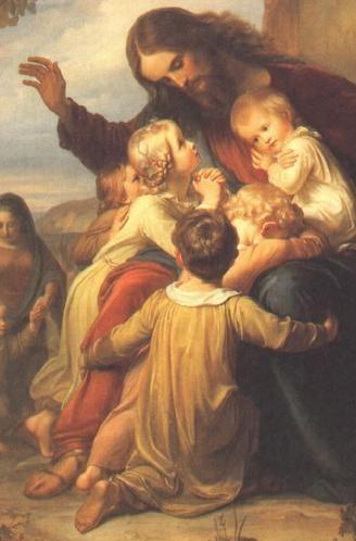 """Art- """"Let the Children come Unto Me"""" by Carl Christian Vogel von Vogelstein (German,1788-1868)"""