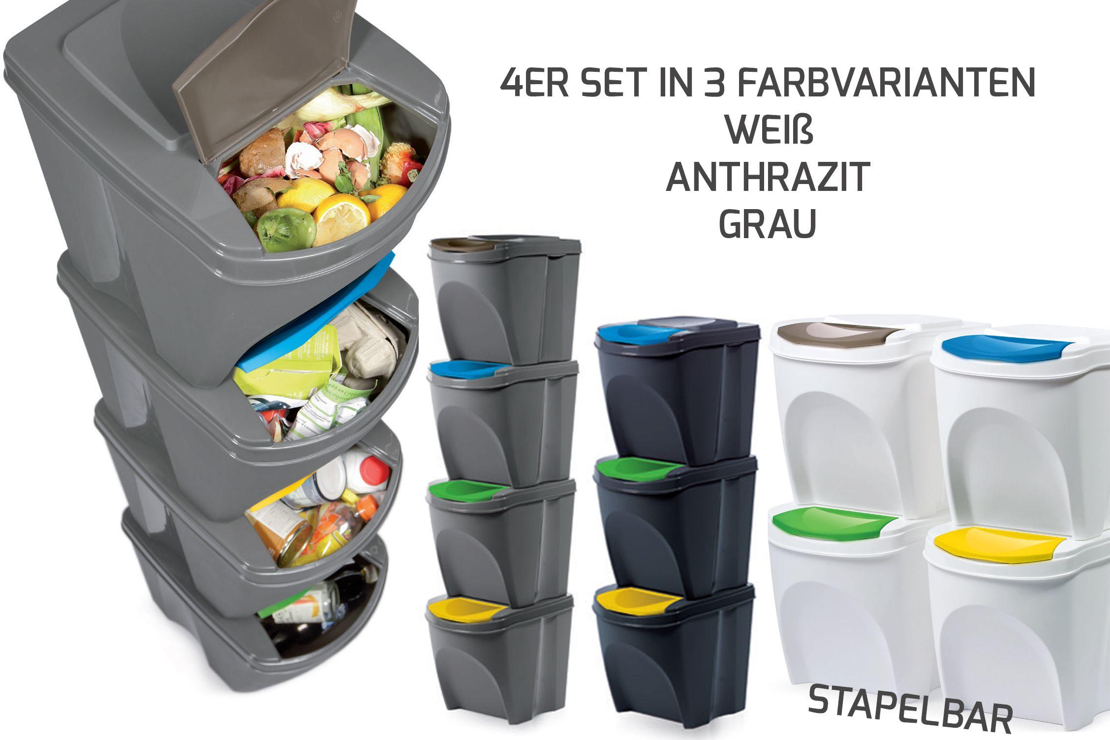4er Set Mülleimer Küche Sortibox Abfalleimer waste bin 20 L ...