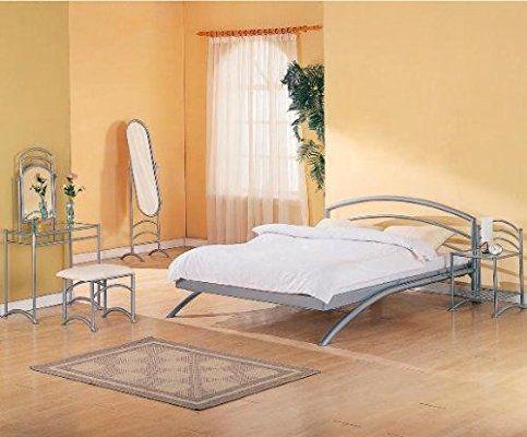Coaster Modern Contemporary Platform Bed, Silver Metal Finish, Queen