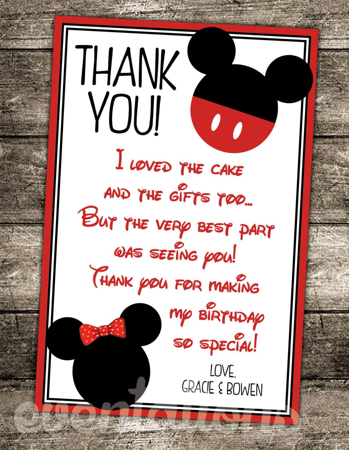 "Oh ""twodles"" mickey mouse birthday thank you card by EVENTATIONS on Etsy s"