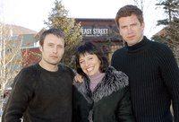Mads Mikkelsen, Susanne Bier and Nikolaj Lie Kaas during 2003 Sundance Film Festival - 'Open Hearts'