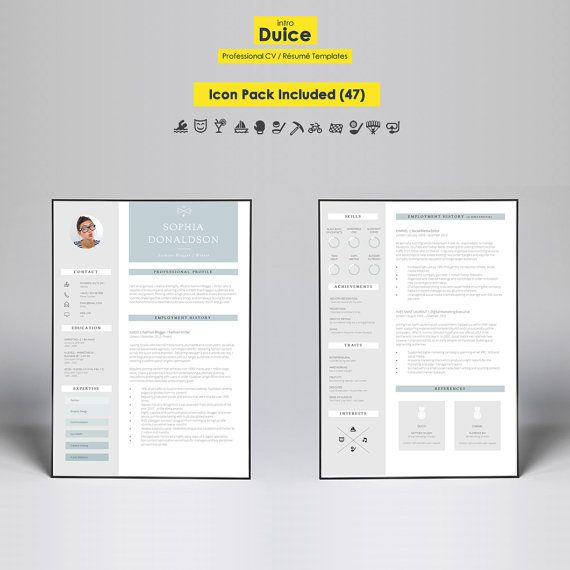 CV Template Resume Template CV Design + Cover Letter + CV - it cv template