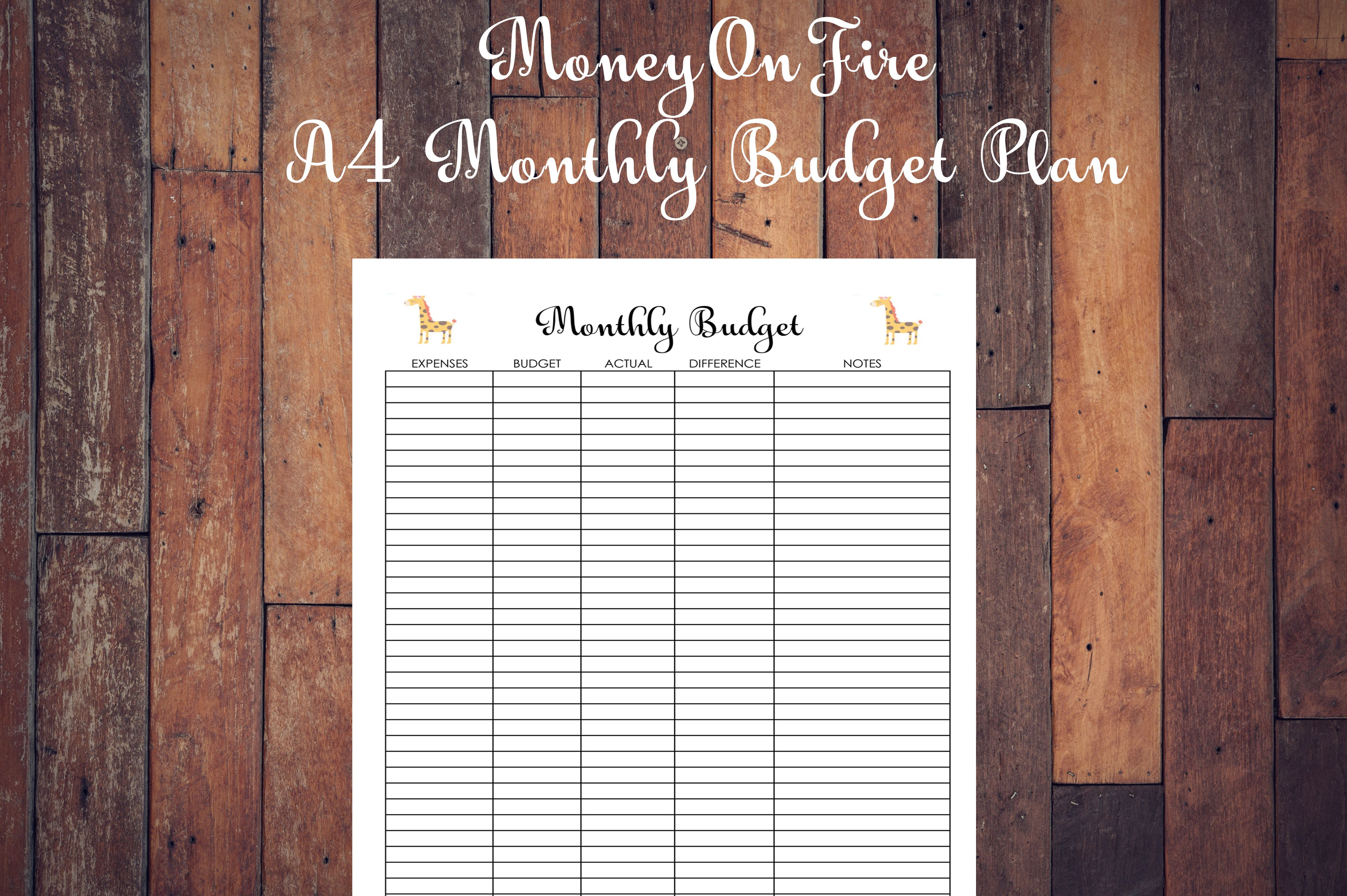 Monthly Budget Plan Printable Etsyshop Etsyseller