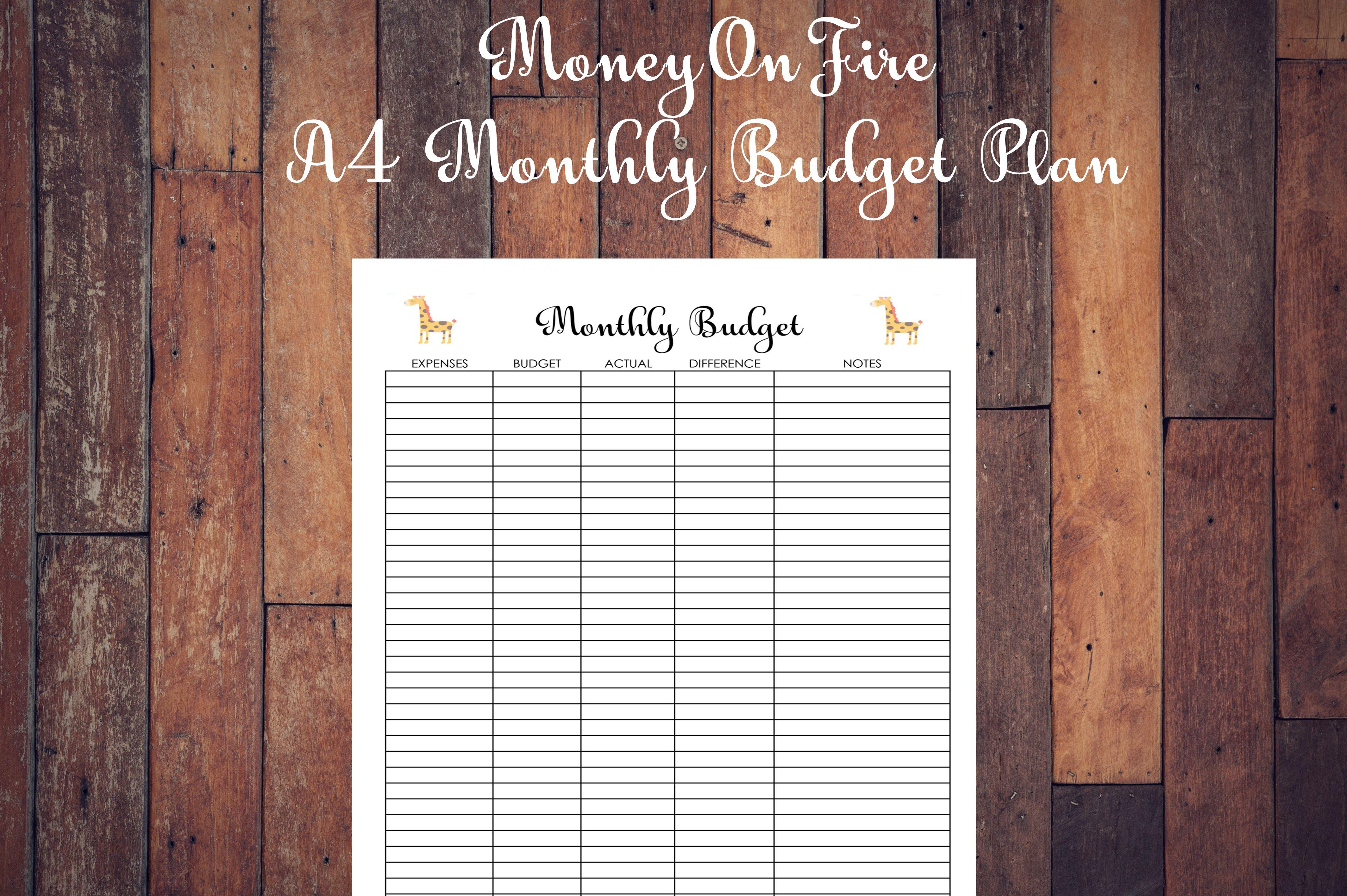 Monthly Budget Plan Printable Etsyshop Etsyseller