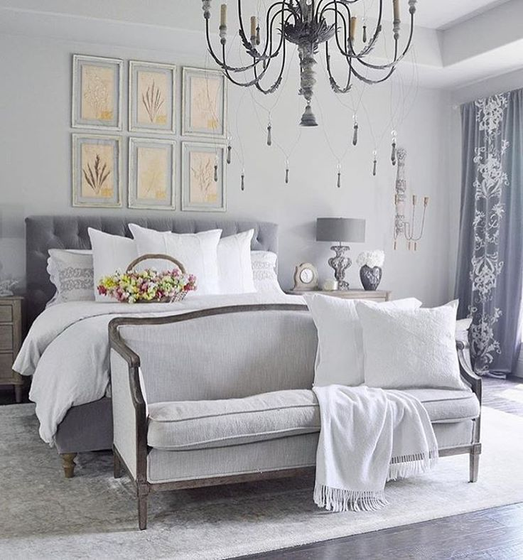 Beautiful gray bedroom by /decorgold/ complete with a sofa at the end of the