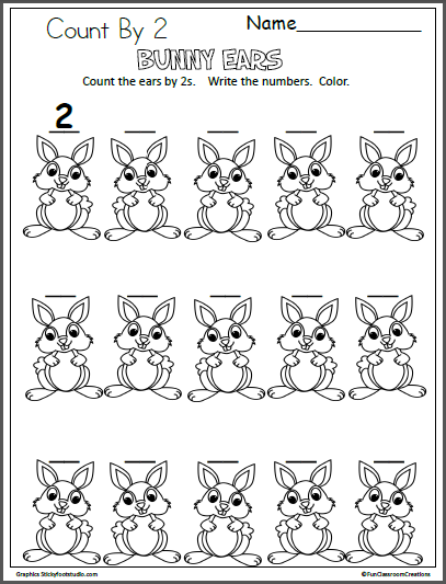 easter bunny ears counting by 2 skip counting counting by 2 kindergarten math activities. Black Bedroom Furniture Sets. Home Design Ideas