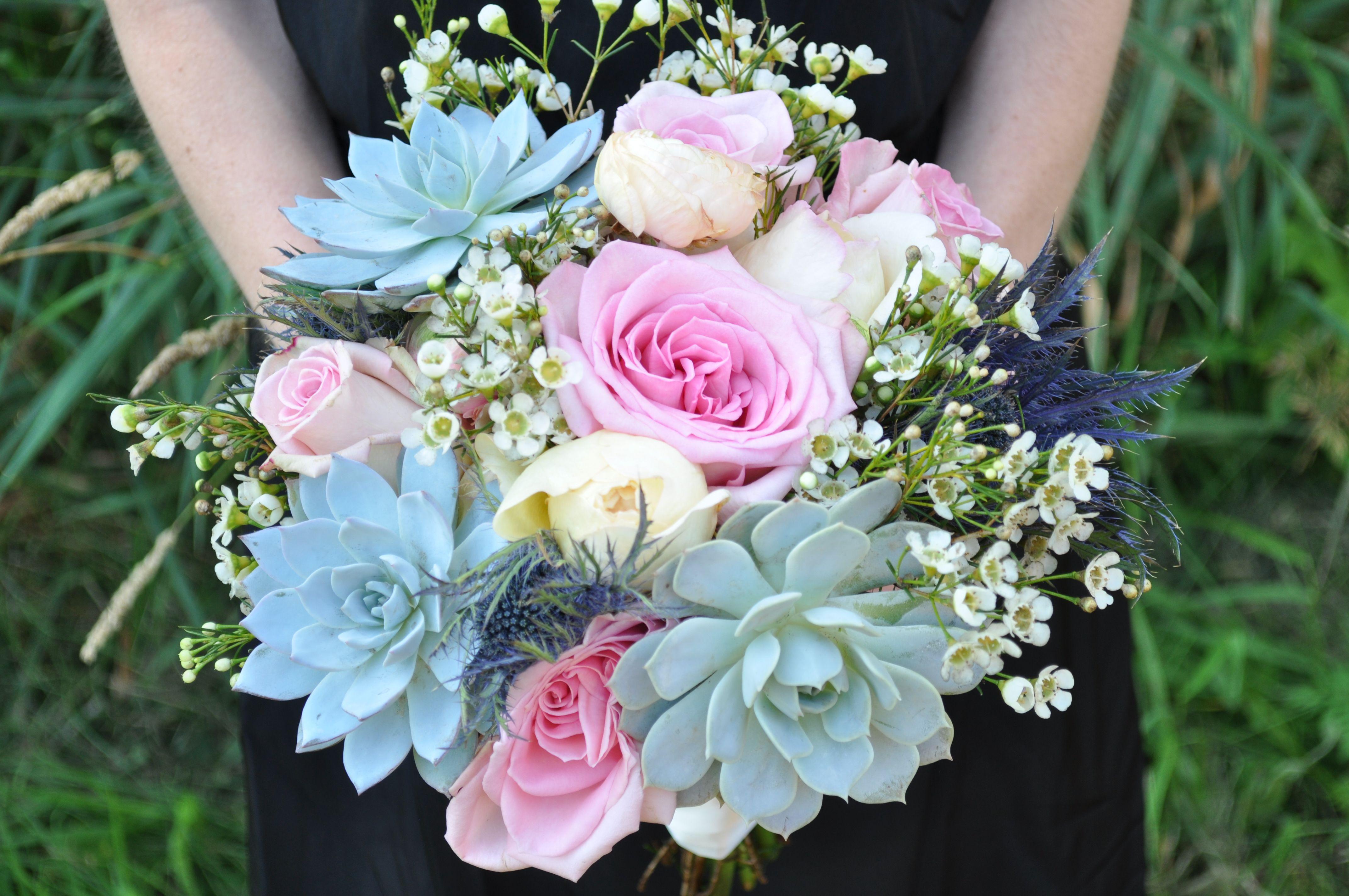 Httpsfacebookarrangedbymaddy succulent blue thistle flower bouquets httpsfacebookarrangedbymaddy succulent blue thistle izmirmasajfo