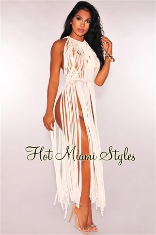 8192e343c65de Keep it sexy and flirty on your upcoming getaway, this off white fringe  cover up maxi dress is a total dream piece.