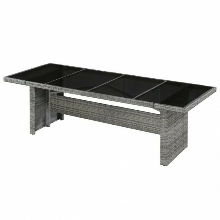 Grenenhouten Side Table.Grey Rattan Dining Table With Glass Top 8 Seater Large