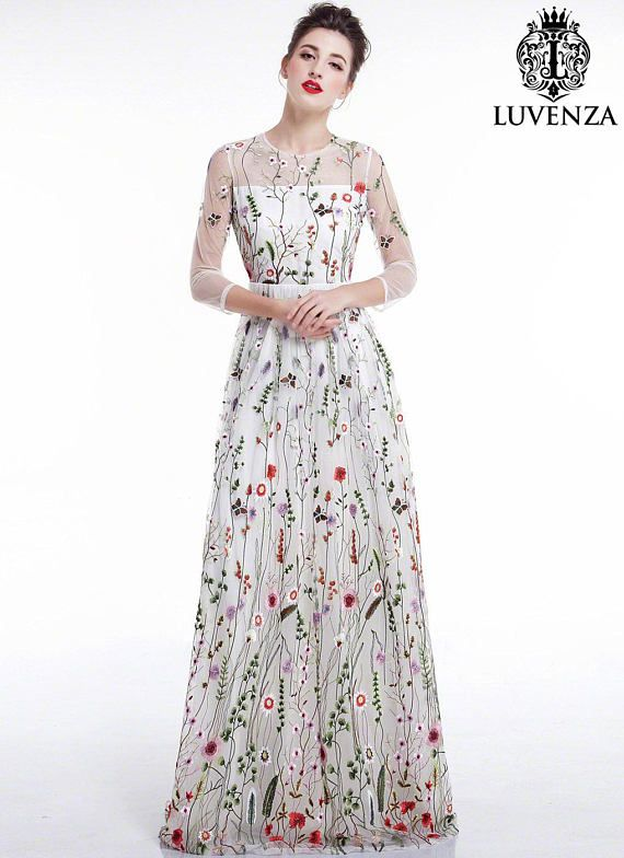 White Tulle Colorful Floral Embroidery Maxi Evening  808438bc4