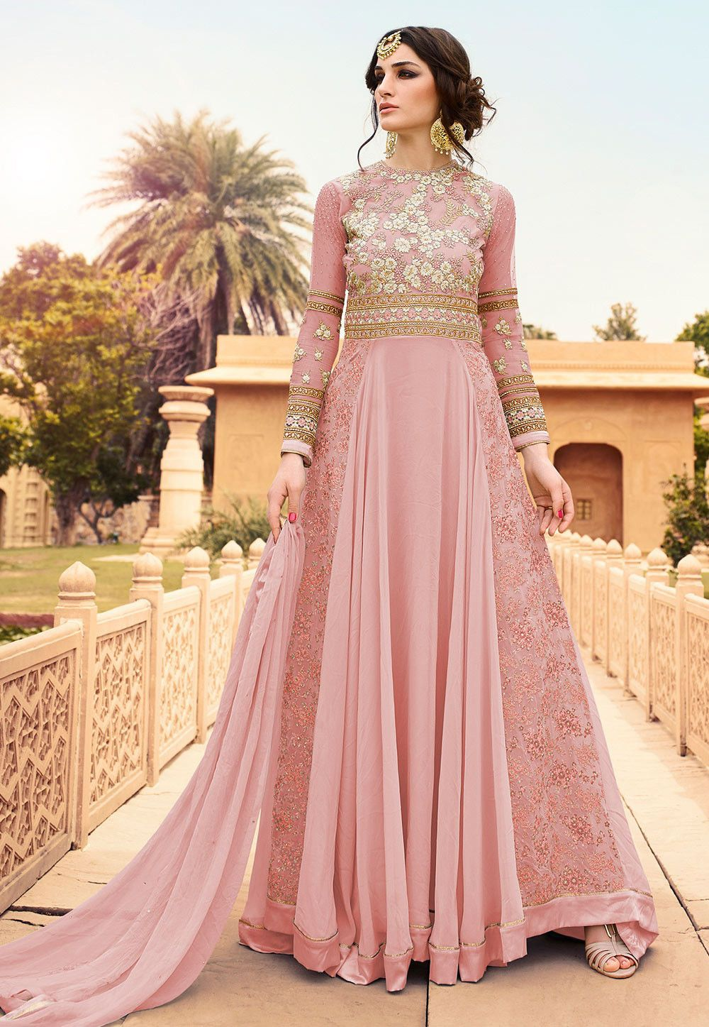 e449f56600d7 Embroidered Georgette and Net Abaya Style Suit in Baby Pink ...