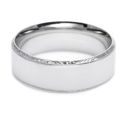 Bind your future as a couple with this flat, high-polished band with special engraving on the exterior's rims of the band.