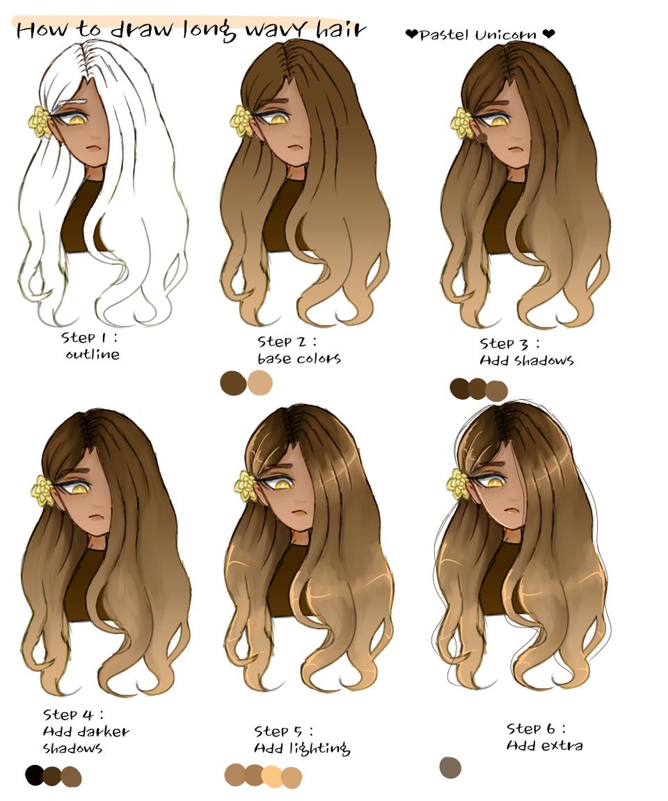 Wavy Hair Drawing Drawing Hair Wavy In 2020 Drawing Hair Tutorial Unicorn Illustration How To Draw Hair