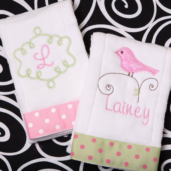 Boutique Personalized Baby Girl Burp Cloth by MineAllMineDesigns, $18.00