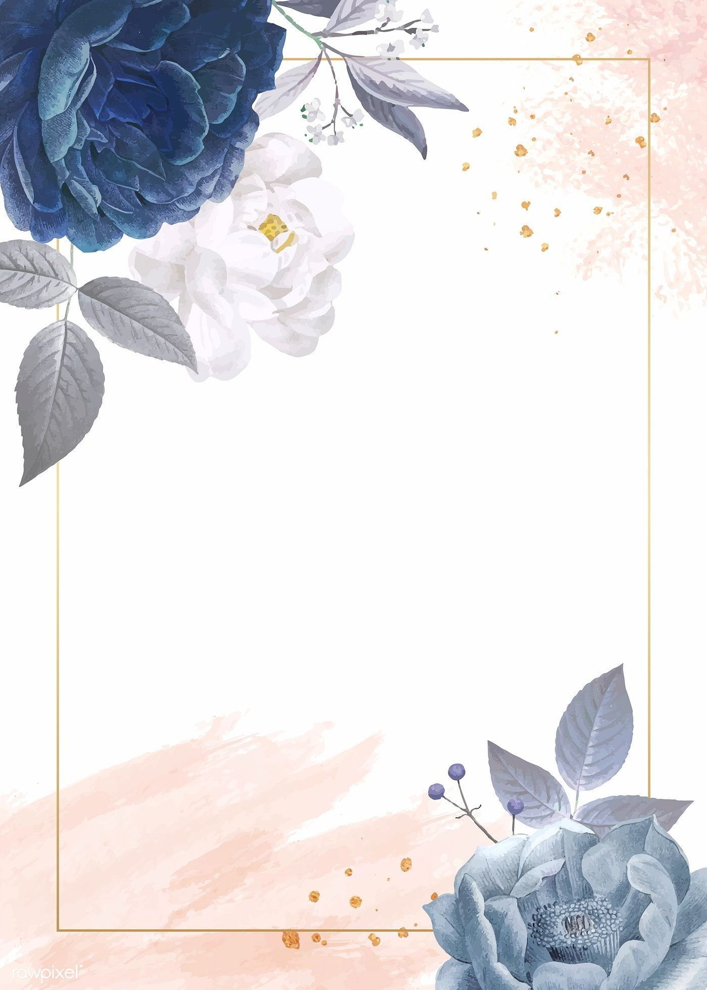 Blue Roses Themed Card Template Vector Premium Image By Flower Background Wallpaper Flower Backgrounds Floral Border Design