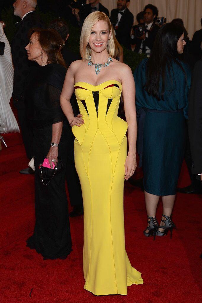 January Jones in Versace @ Met Gala 2012