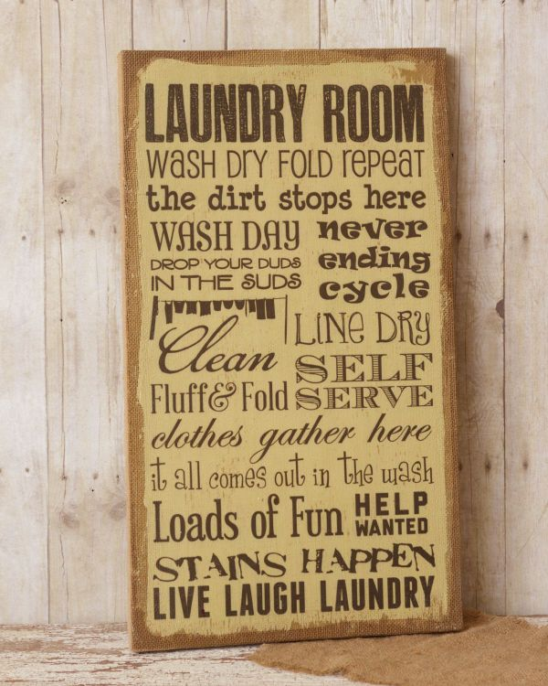 New Primitive French Country Shabby LAUNDRY WORDS Burlap Picture ...