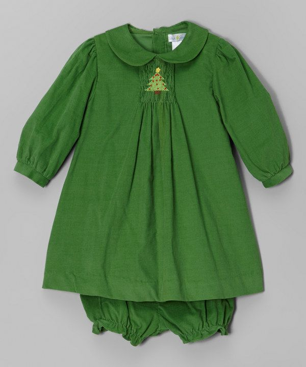 Look at this Petit Pomme Green Tree Corduroy Dress & Bloomers - Infant on #zulily today!