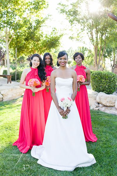 Bright Coral and Free Spirit Garden Rose Bridesmaids Bouquets