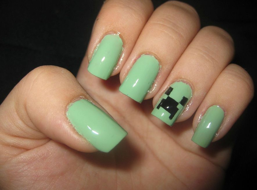 Creeper Idée Nail Art Ongles Minecraft Cheveux Et