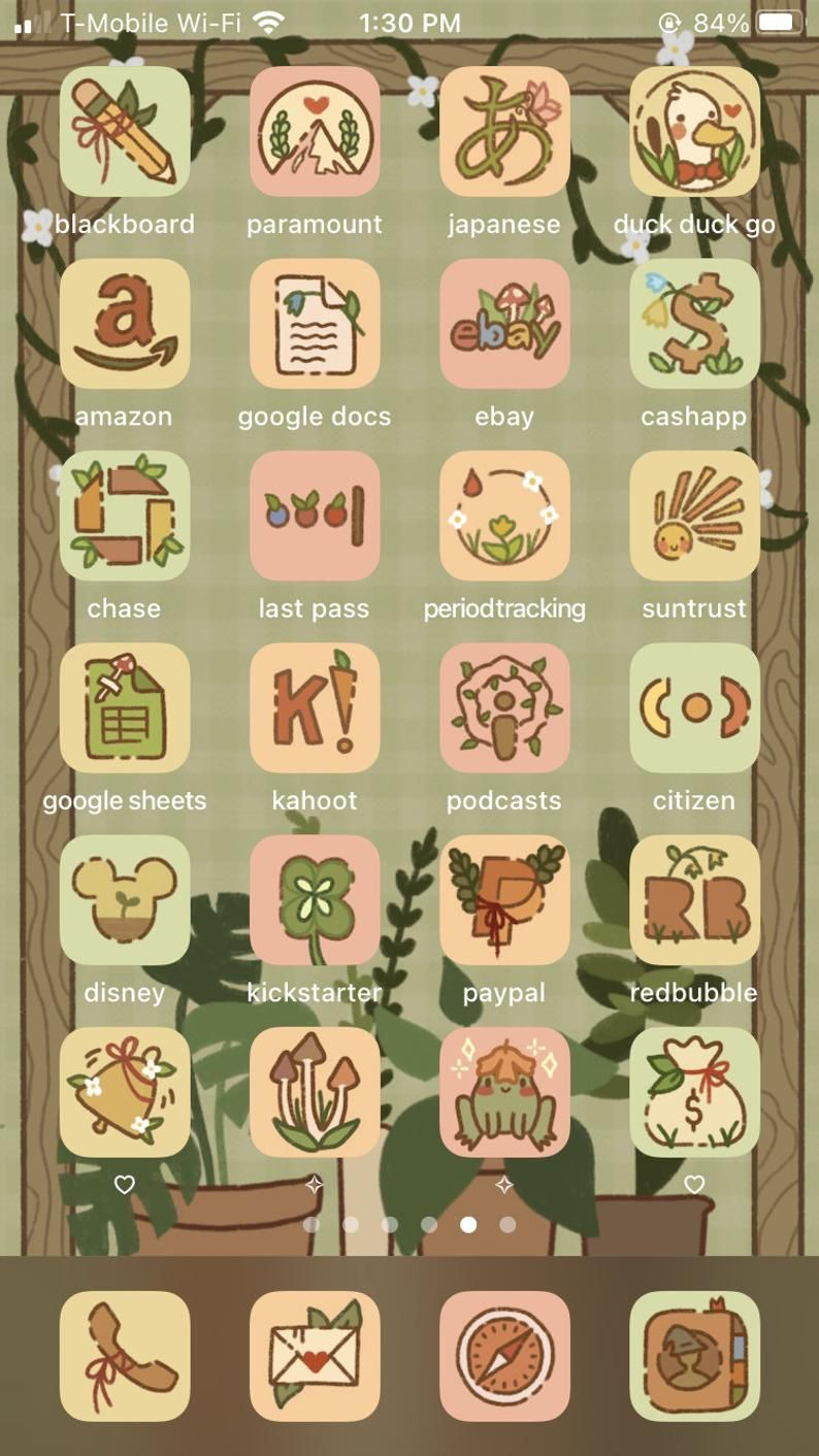 NEW EXPANSION Cottagecore iPhone iOS 14 App Icons, Spring / Summer Aesthetic, Plants Aesthetic