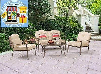 Patio Furniture Set 4pcs Sofa Chair Porch Yard Outdoor Garden Home Pool Comfort