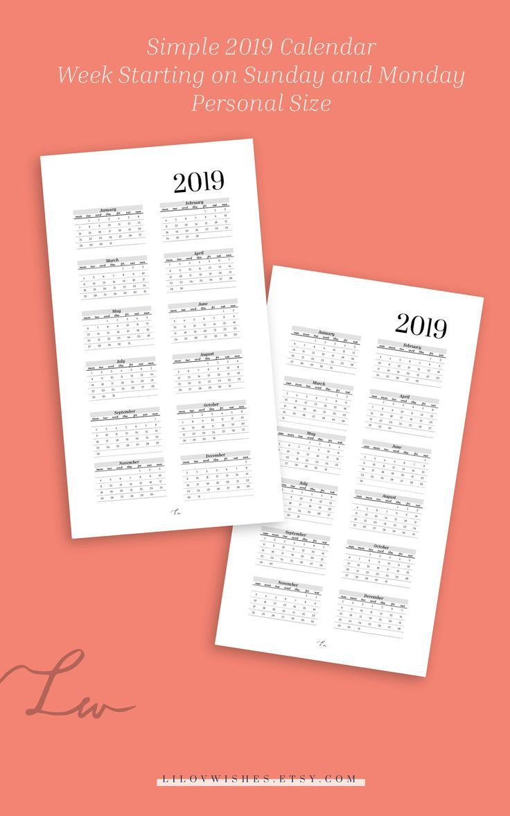 2019 calendar personal size, 2019 yearly calendar