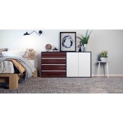 Photo of Sideboard Schwarz – Sideboard: Schubladen in Nussbaum & Türen in Weiß – Hochwertige Materialien – 15