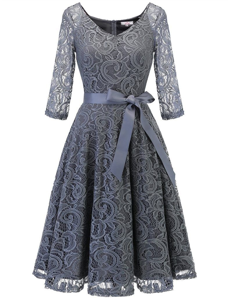 a31e39c2d4 Dressystar Elegant V Neck Lace 3 4 Sleeve Bridesmaid Wedding Guest Dresses  Slim Waist Midi
