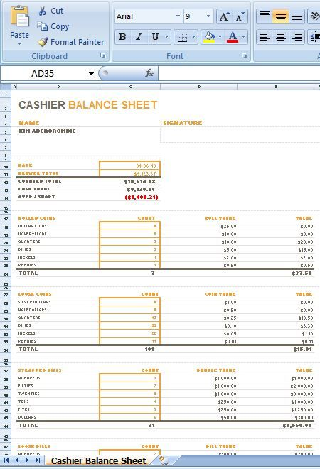 cashier balance sheet is a layout for you to stay informed regarding the cashier u2019s day by day