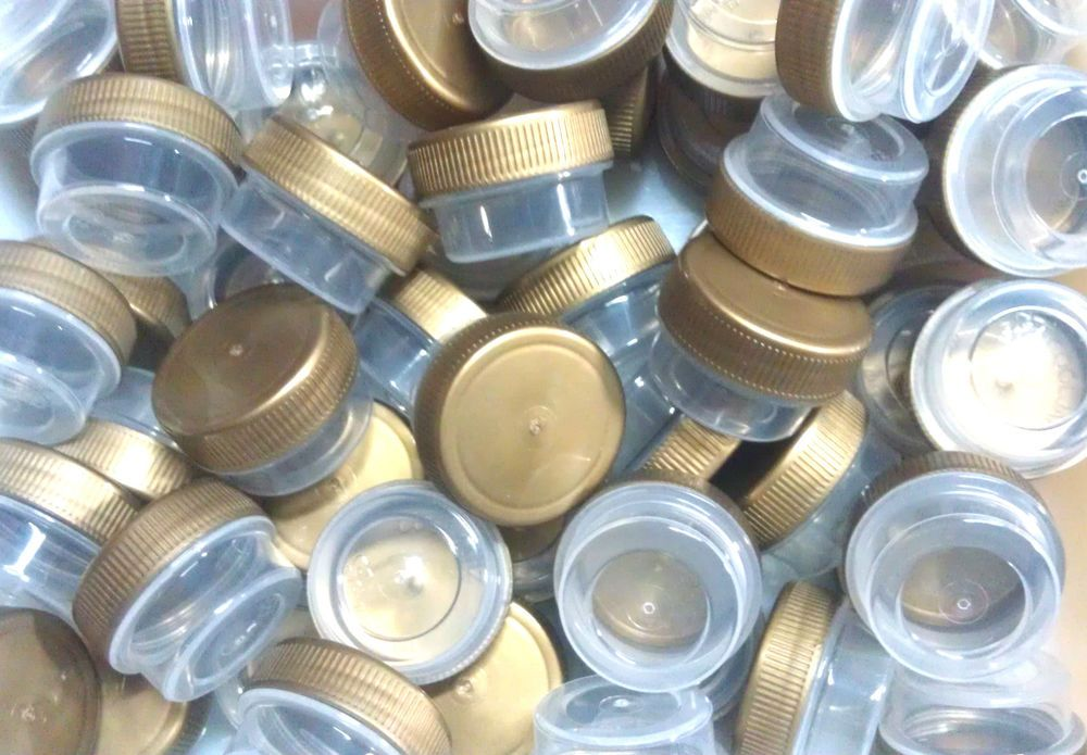 80 Tiny Small Plastic Jars Gold Cap Container Cosmetic