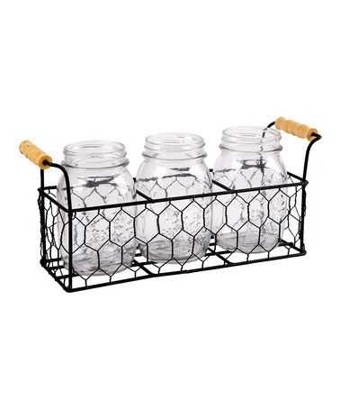 Another great find on #zulily! Chicken Wire Mason Jar Flatware Caddy ...