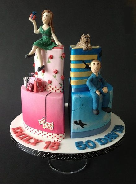 Twins First Birthday Cake For A Boy And A Girl Turning One