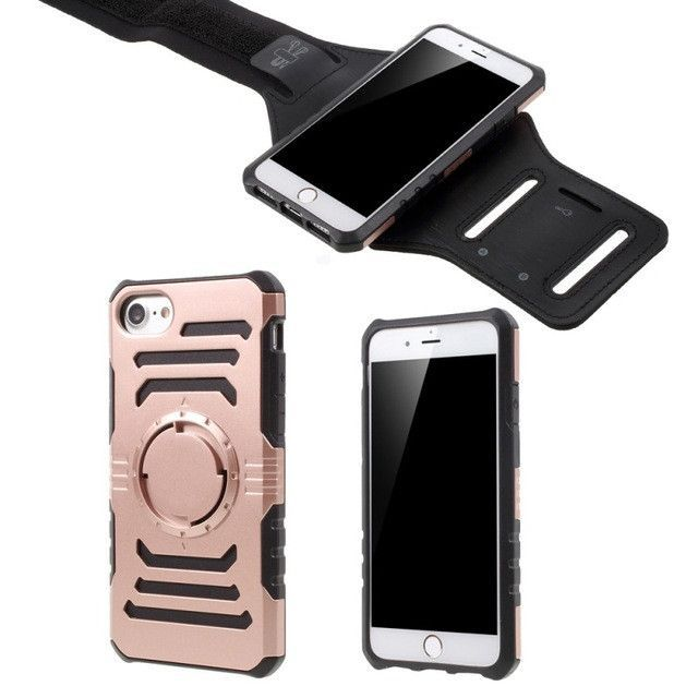 For iPhone 7 Case 4.7 inch 2-In-1 Sports Armband Plastic & TPU Protective Case for Apple iPhone 7 Cover I7 Built-in Iron Sheet