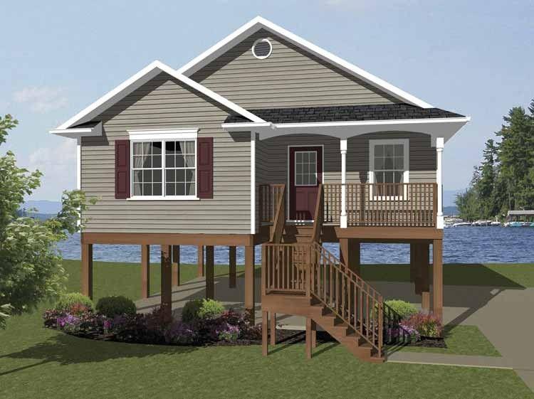Beach Style House Plan 2 Beds 1 Baths 856 Sq Ft Plan 14 240 Coastal House Plans Beach Style House Plans Small Beach Houses
