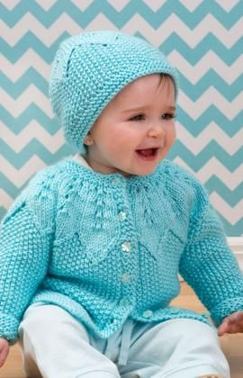 96088fa5e Star Bright Baby Cardigan and Hat Free Knitting Pattern from Red ...