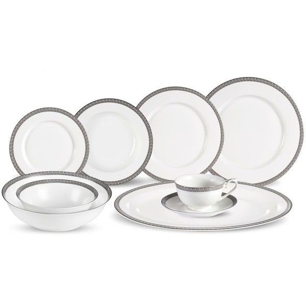 Lorren Home Trends La Luna Collection Dora 30-Piece Dinnerware Set ($400) ❤ liked on Polyvore featuring home, kitchen & dining, dinnerware, fruit cups, oven safe bowl, oval dinnerware, fruit dinnerware sets and lorren home trends