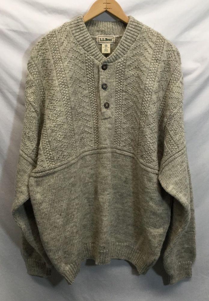 3a4e7e06c LL Bean Scotland Wool Mens Fishermans Winter Henley Thick Sweater ...