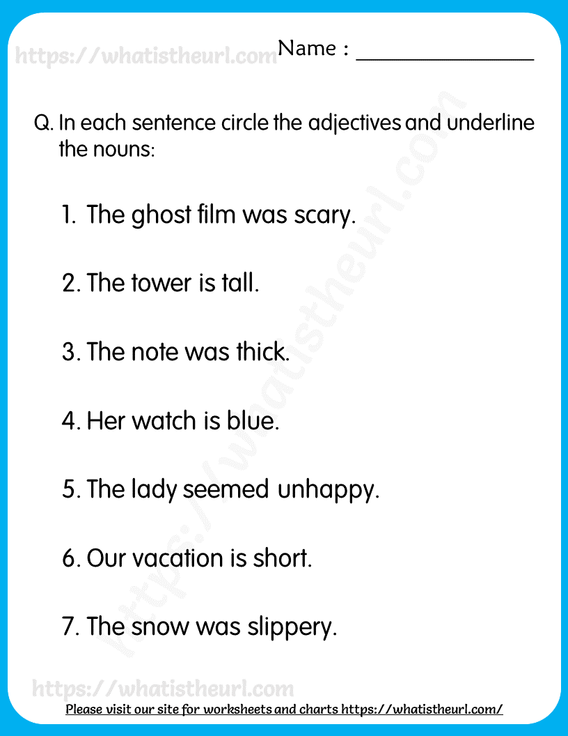 small resolution of Nouns \u0026 Adjectives Worksheets for Grade 3   Nouns and adjectives