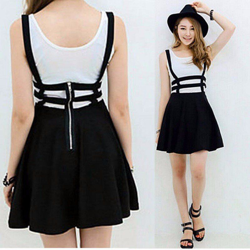 c12d9b0c7 This trendsetting suspender skirt is sure to get you noticed, as it adds a  little