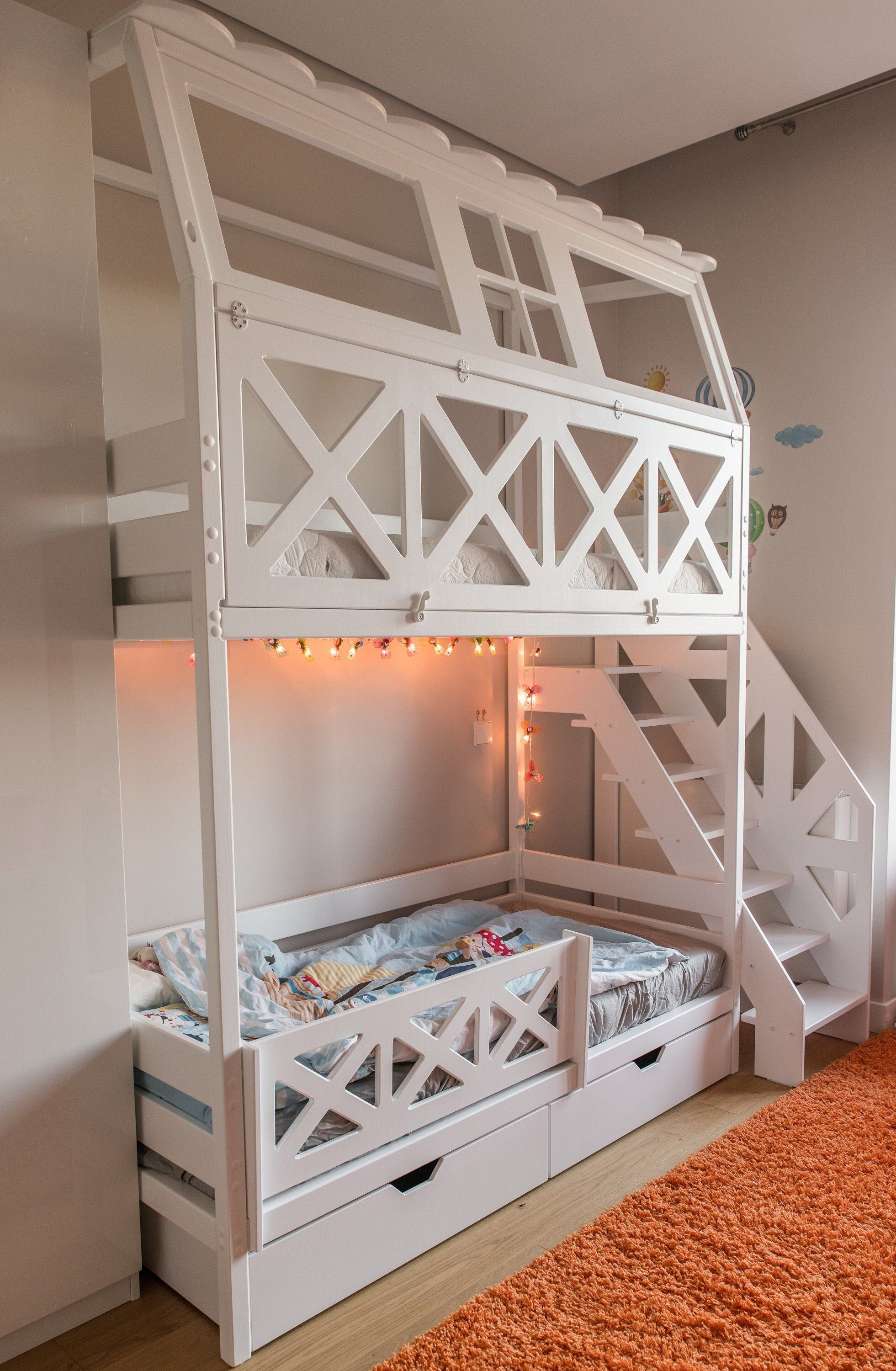 Bunk Bed For Kids Loft Bed Playhouse Bunk Bed Kids Etsy Kid Beds Loft Bed Bunk Beds