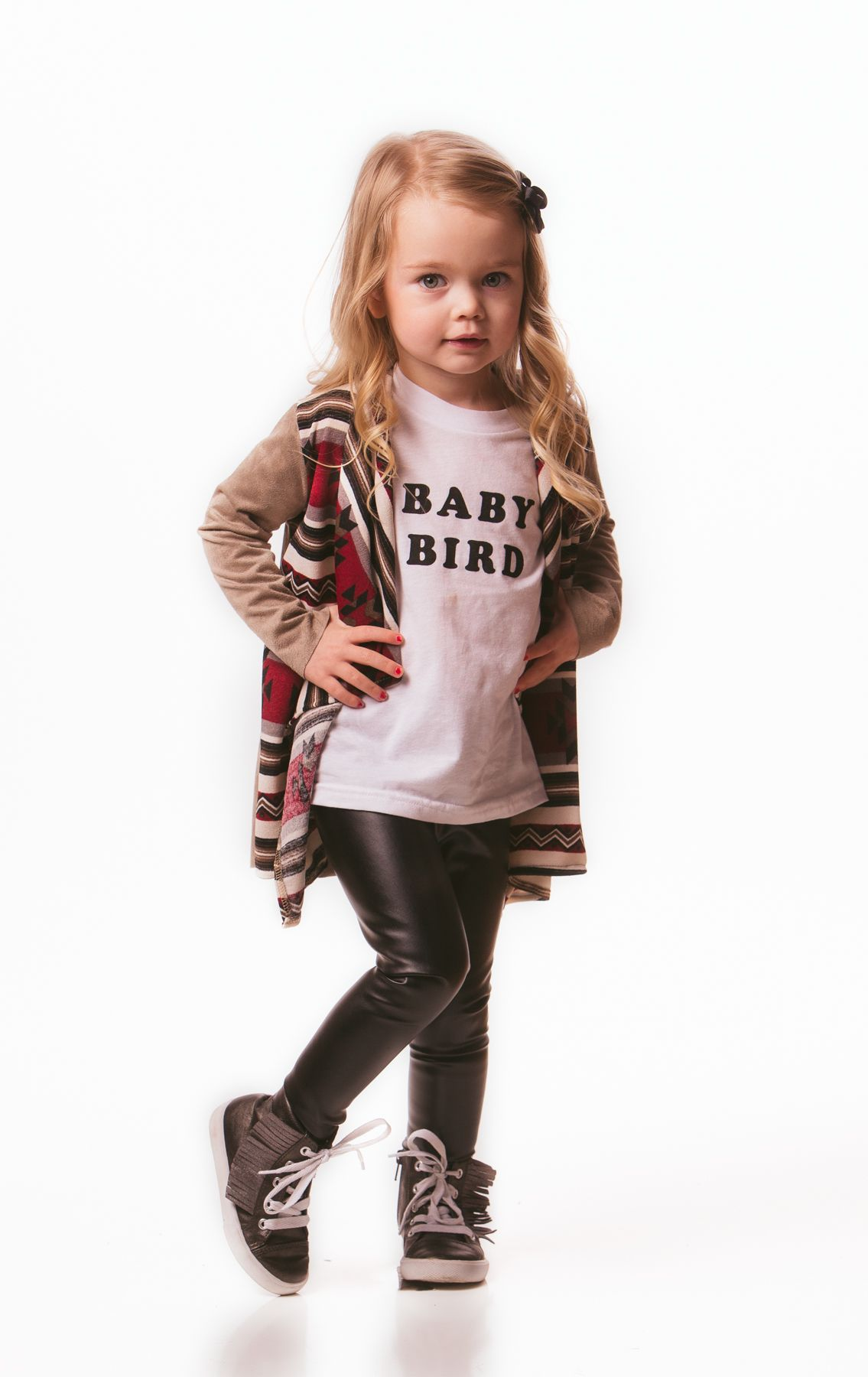 2f0a5a640f2ab Aztec cardigan, baby bird tee, leather leggings | Lemon Lane Little ...
