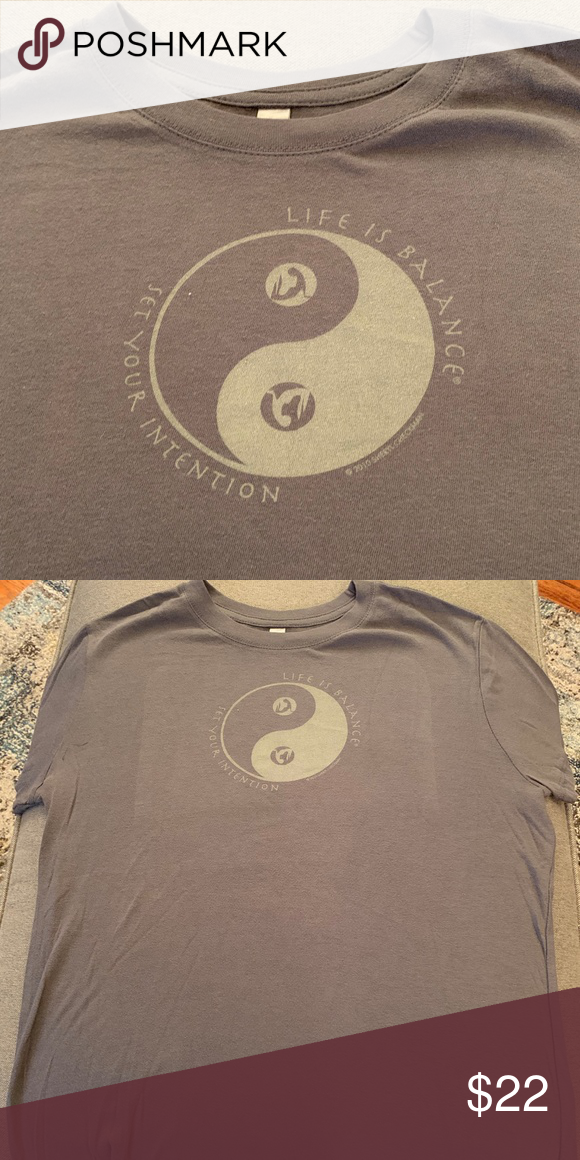 6441f5a0e Women's Yoga T-shirt: Set Your Intention - Gray-XL Our Life is ...