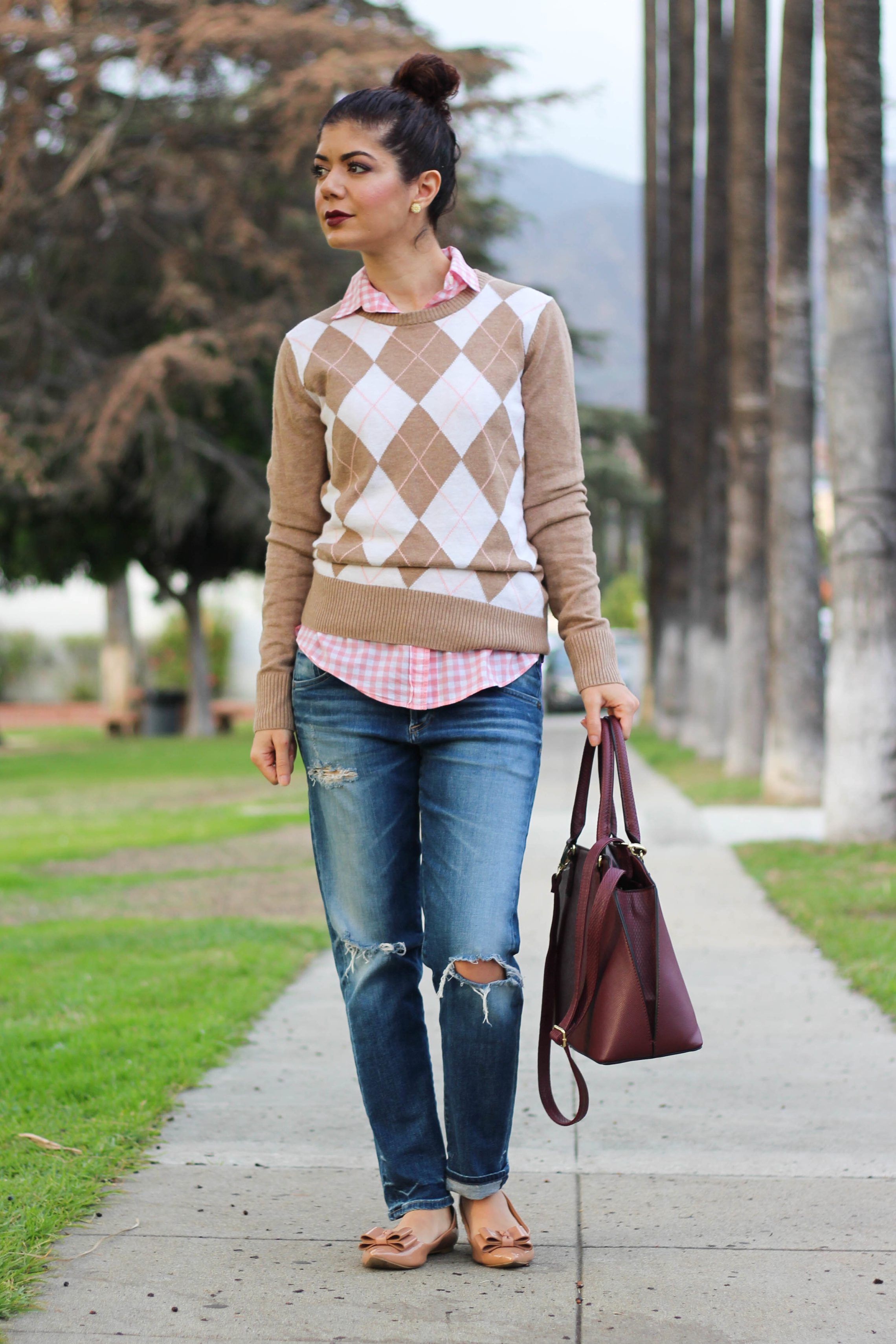 Polished whimsy in casual burgundy and pink outfit  4742cdc4b